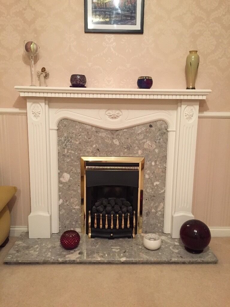 fireplace marble hearth marble back panel white wood surround