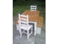 FARMHOUSE TABLE 2 xCHAIRS 2 x BENCHES BIG SOLID TABLE 5FT x 3ft drawer SHABBY CHIC