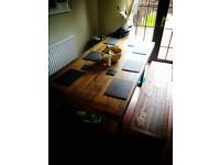 Reclaimed timber dining table set