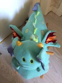 *HOUSE CLEARENCE* BEAUTIFUL colours cosy plush and soft DRAGON Rocking chair with bell for children