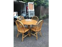 Solid Pine Drop Leaf Circular Dining Table And 4 Chairs... ** DELIVERY AVAILABLE **
