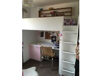 IKEA bunk bed with desk and storage