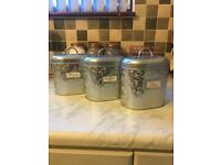 Next Silver & White Floral Tea/coffee/sugar Cannisters