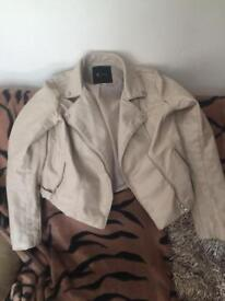 Discontinued Woman's Cream La Redoute faux leather jacket