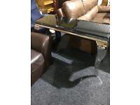 Chrome frame-black top hall table