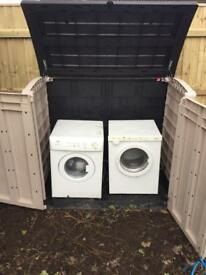 Washer dryer and storage shed