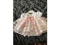 0-3 months girls frilly dress
