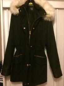 New look black coat/fur hood