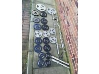 140kg Olympic Cast Iron Weights Set with Barbell, EZ Bar & Dumbbells (squat, rack, bench, press)