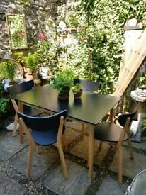Retro Style Black & Beech Table & Chair Set