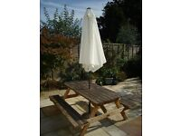 Timber Picnic Table, Cream Parasol & Base Stand