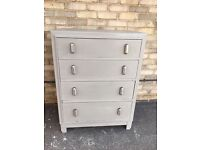 CHEST OF DRAWERS ART DECO PAINTED FRENCH GREY CHROME HANDLES