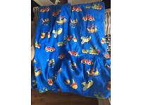 Children's blue vehicle print curtains
