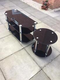 Black glass tv stand & side table