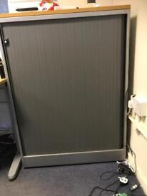 Office storage tambour door. Sliding door filing cabinet