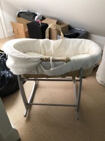 Moses basket and rocking stand in grey