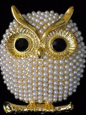 GOLD CREAM PEARL BRANCH CHI OMEGA HOOTIE HOOT OWL BIRD PIN BROOCH JEWELRY 1.75