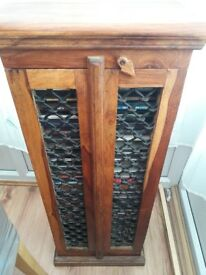 Indian wood and wrought iron cd cabinet