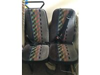 Double van/ camper seat with inter grated seat belts