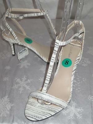 NWT CALVIN KLEIN Womens LEATHER LOLA Striation T STRAP Heels SHOES Sandals Sz 8