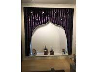 Window pelmet crushed plum velvet with Swarovski crystals and beading