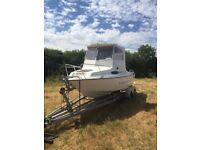 Fishing boat fletcher 50hp outboard twin axel trailer