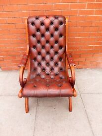 A Tanny Brown Leather Chesterfield Slipper Chair