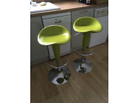 Pair of lime green & chrome bar / breakfast bar stools