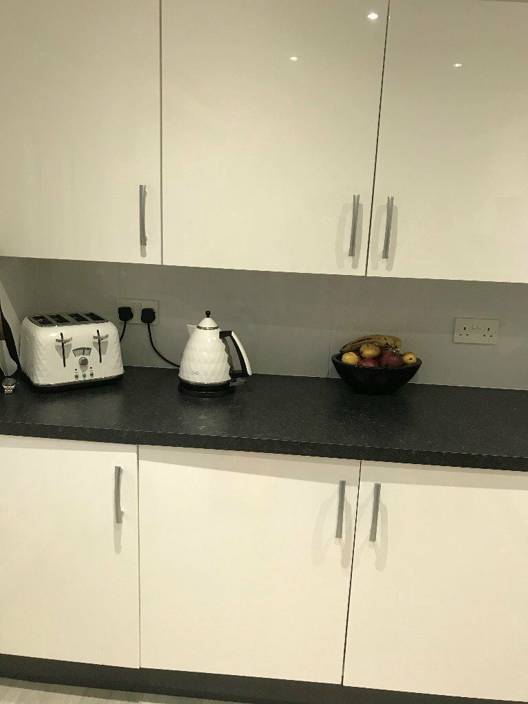 Full Kitchen For Sale White Gloss Units And Black Worktops