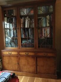 Yew bookcase display cabinet unit