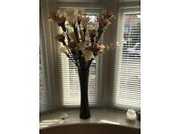 Large chocolate vase and faux silk flowers neutral colours