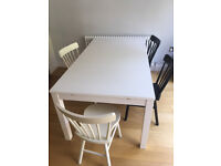 IKEA dining table 175 X 95 cm, white + 4 chairs