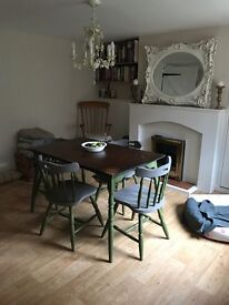 Table and chairs refurbished with chalk paint - country style