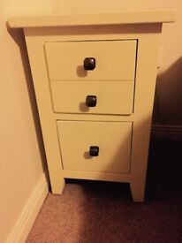 Antique cream bedside table with two drawers