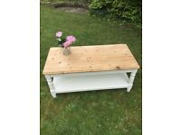 Solid pine shabby chic coffee table