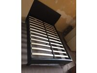 Excellent condition dark brown leather look double bed