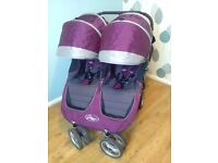 Double buggy, baby jogger city mini - purple. Used, good condition.
