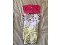 Girls clothing 3-6 mo, Carter's, Old navy, children's place. 3 long sleeve sleepers, 1 t shirt