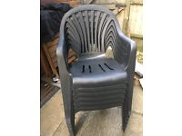 Stackable Plastic Chairs SIX Black Excellent Condition