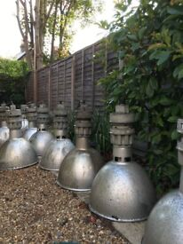 "Lovely Industrial ""Simplex "" pendant lights x 8"
