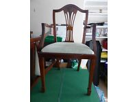 Dining room chairs. 2 x carver chairs and 4 x dining chairs