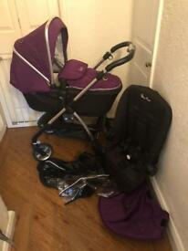 Silver Cross Damson / Purple Wayfarer Pram