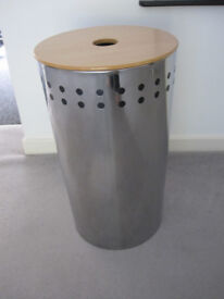 LARGE Modern Chrome Round metal Laundry Box/Basket/Storage with Wooden Lid