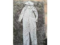 NEXT Ladies Onesie, full zip with hood. Open feet. Size Medium (12 approx)