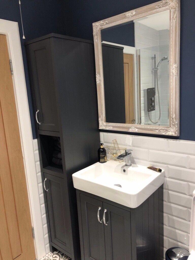 Charcoal Grey Tall Bathroom Cabinet Brand New In Haddington