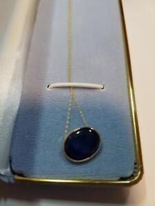 14K Gold Blue Sapphire Necklace, Appraised at $1200!