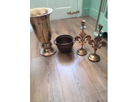 Copper pots, holding CANDLE, vase
