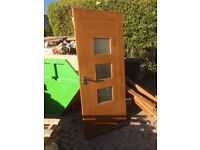 Wooden Front Door With Matching Side Panels