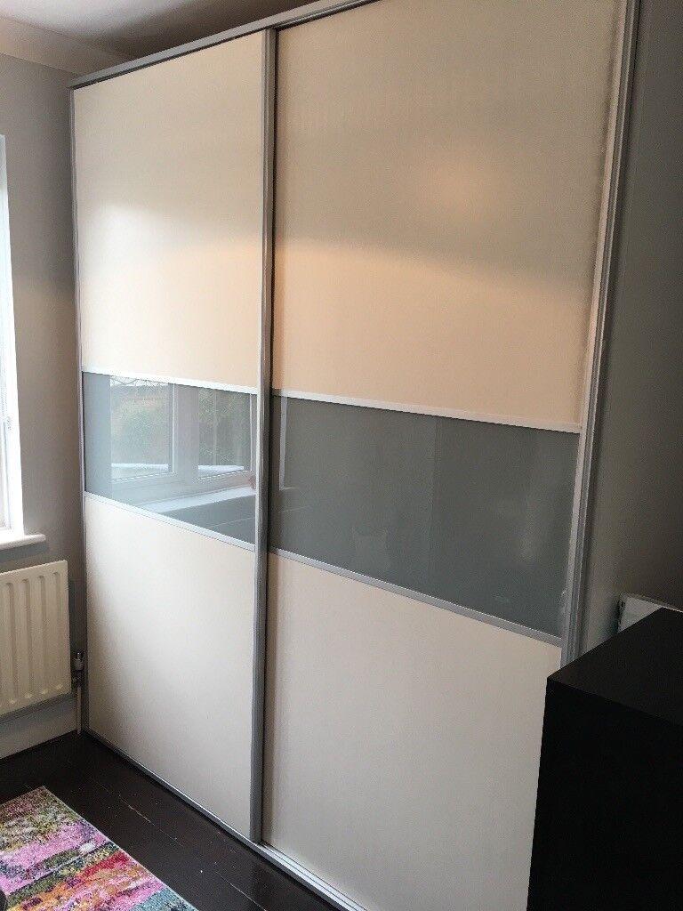 Large Greywhite Sliding Door Free Standing Wardrobe In Teddington