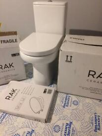 RAK Compact Deluxe Rimless Close Coupled Toilet with extra height, Cistern & Seat - Brand New - £230